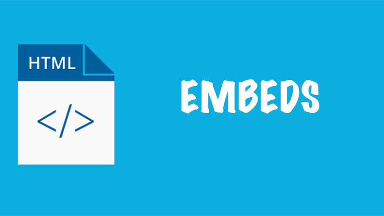 embeds written on a blue background