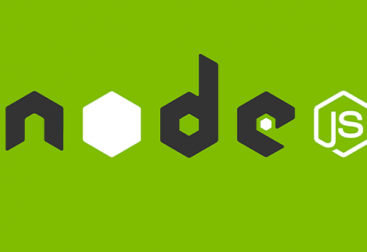 node js written on a grass green background