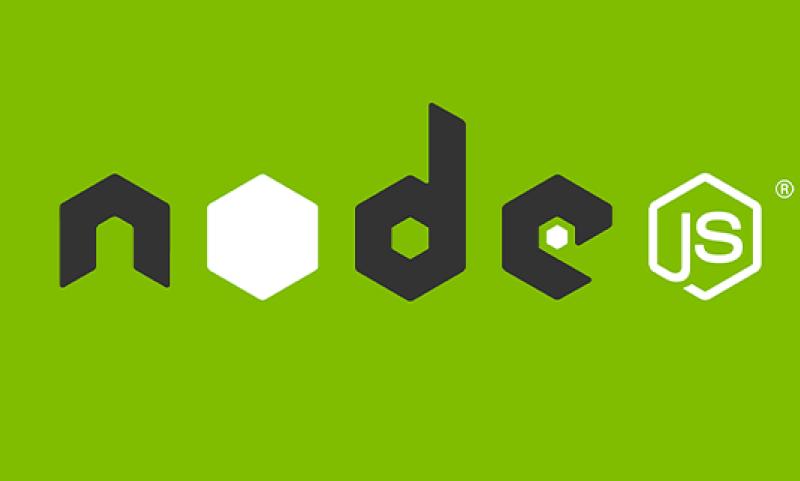 node js written on a grass green background