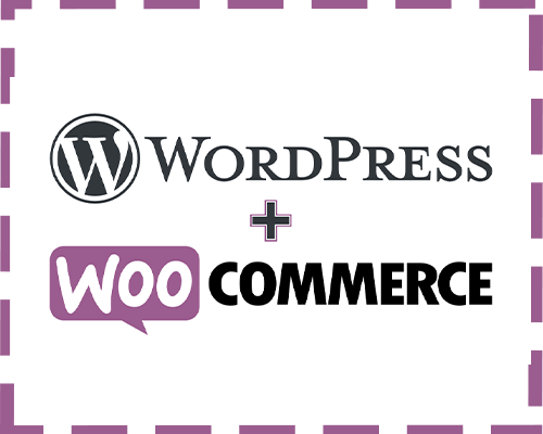 wordpress and woocommerce logo blended into a white background