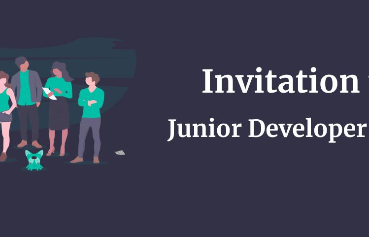 invitation to junior developer group written on a dark background